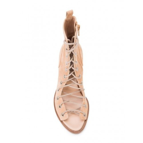 NEU Ann Demeulemeester Lace up Shoes peach Leather 100% 11981406 SIZPVSO