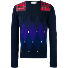 Ballantyne Argyle Pattern And Patchwork Sweatshirt 00001 BLUE Cashmere 100% Men's Sweatshirts 13337773 HFALWJB