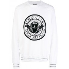 Balmain Logo Medallion Sweater 180 BLANC Cotton 100% Men's Sweatshirts 13152112 AEGXCNN