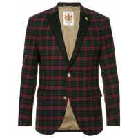 Education From Youngmachines Single Breasted Check Blazer RED Wool 94% Men's Casual Blazers 13434133 JTPKBNA
