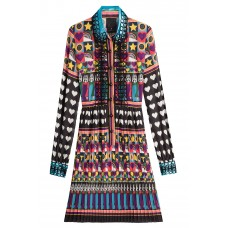 Anna Sui All You Need Is Love Shirtdress multicolored 100% Polyamide Women's Printed Dresses 257373 OFPGWHU