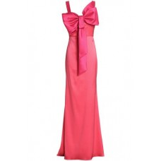 BADGLEY MISCHKA Bow-embellished two-tone satin-faille gown Coral New Products Discount 1050808769432 yKKvHq67