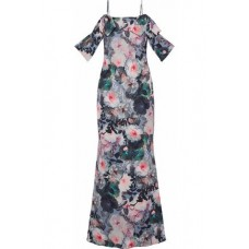 BADGLEY MISCHKA Cold-shoulder draped floral-print cady gown Blue New Products Discount 1874378723179540 sJcEns9h