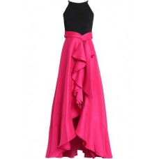 BADGLEY MISCHKA Crepe-paneled ruffled satin-faille gown Bright pink New Products Discount 14693524283369902 YTQQys1h