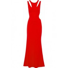 BADGLEY MISCHKA Cutout crepe gown Coral New Products Discount 1874378722828411 YeURFyv6
