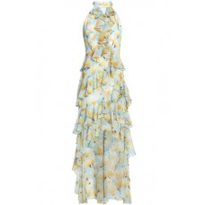 BADGLEY MISCHKA Cutout ruffled floral-print georgette dress Sky blue New Products Discount 4146401443324256 1SW8vRNa