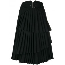Alberta Ferretti Pleated Layered Midi Skirt 0555 BLACK other fibers 4% Women's Pleated Skirts 13223724 ZGTXRWX