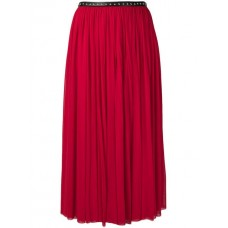 Alexander McQueen Pleated Midi Skirt 6530 RED Spandex/Elastane 25% Women's Pleated Skirts 13153723 RDIJNSV