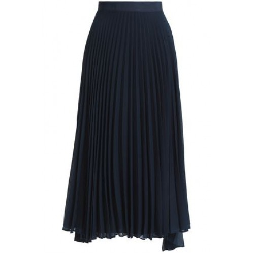 ALICE + OLIVIA Essie pleated georgette midi skirt Midnight blue New Products Discount 7789028783087291 k8y2Vkyu