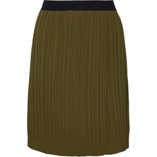 BY MALENE BIRGER Two-tone cady plisse mini skirt Army green New Products Discount 4772211933335634 J04ga21j