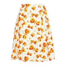 CAROLINA HERRERA Pleated printed cotton skirt Orange New Products Discount 4146401443603452 x65sX6ms
