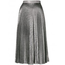 Christopher Kane Pleated Lamé Mesh Skirt BLACK/ SILVER Polyester 100% Women's Pleated Skirts 13180426 UZAVRHH