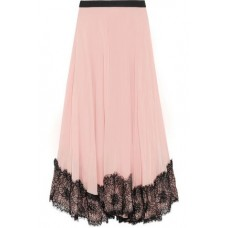 CINQ À SEPT Kaya lace-trimmed pleated crepe de chine midi skirt Pastel pink New Products Discount 4772211933816631 WqVE3BkZ