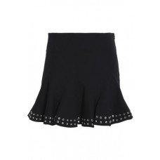 DEREK LAM 10 CROSBY Pleated eyelet-embellished stretch-cotton mini skirt Black New Products Discount 4772211931841222 mf53fs4T