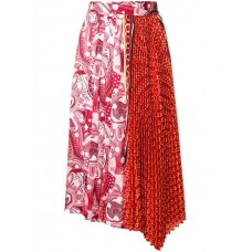 Dondup Contrast Print Pleated Skirt 500 ROSSO Polyester 100% Women's Pleated Skirts 13201373 KCECCGK