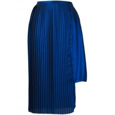 Each X Other Asymmetric Pleated Skirt Electric Blue Polyester 100% Women's Pleated Skirts 13176343 IAWWPEW