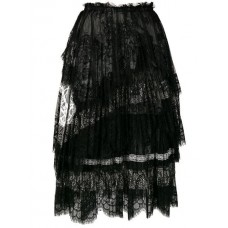Ermanno Scervino Pleated Lace Skirt B3305 NERO Polyamide 5% Women's Pleated Skirts 13355604 LXGVXXX