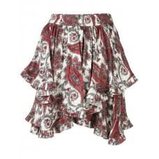 Isabel Marant Paisley Printed Ruffle Skirt WHRD WHITE/ RED Viscose 48% Women's Pleated Skirts 13381566 VMAQZJF