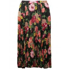 Junya Watanabe Floral Print Pleated Skirt BLK/RED/PINK Polyester 100% Women's Pleated Skirts 13311146 VQTPUED