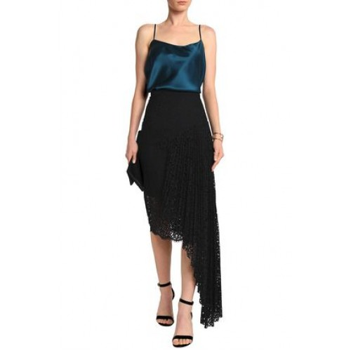 MILLY Asymmetric pleated corded lace skirt Black New Products Discount 5016545970268458 wNDfM2No