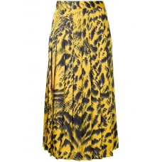 MSGM Pleated Mid length Skirt 06 yellow Polyester 100% Women's Pleated Skirts 13353749 WFKZIWR