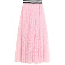 MSGM Pleated neon lace midi skirt Baby pink New Products Discount 1874378722765711 mJOaVzrN