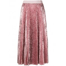 MSGM Pleated Sequin Midi Skirt 12 PINK Polyester 100% Women's Pleated Skirts 12987415 DAYVXIV