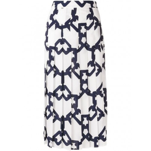MSGM Printed Pleated Skirt 89 WHITE BLUE Polyester 100% Women's Pleated Skirts 13363981 EVKEGTC