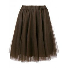 P.A.R.O.S.H. Pleated Tulle Skirt 086 BROWN Viscose 44% Women's Pleated Skirts 13069653 WVQFEHK
