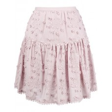 See By Chloé Floral Embroidered Pleated Skirt 521 Misty Lavender Cotton 100% Women's Pleated Skirts 13173516 DDHPRXF