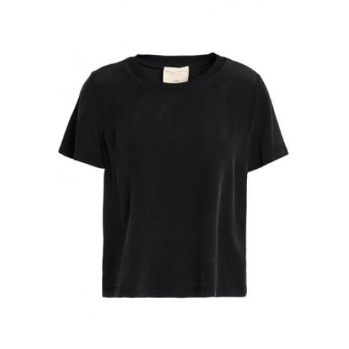 ALICE + OLIVIA Lana washed-crepe T-shirt Black 75% Viscose 25% Elastane 13331180551760568 z5up1NT7