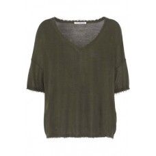 AUTUMN CASHMERE Distressed slub cotton-jersey T-shirt Army green 100% Cotton 7668287966498113 VGkskMRY
