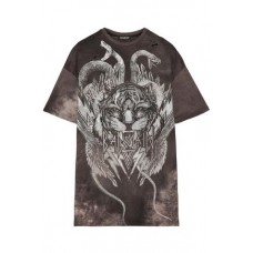 BALMAIN Oversized distressed printed cotton-jersey T-shirt Charcoal 100% Cotton 1874378722914904 tAdu5dft