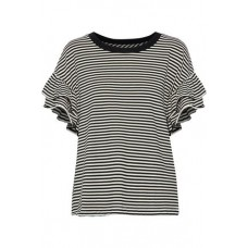 CURRENT/ELLIOTT The Carina ruffle-trimmed striped jersey top Black 54% Polyester 46% Cotton 2243576767886944 4N6WOf75
