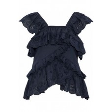 GOEN.J Ruffled broderie anglaise cotton-voile top Storm blue 100% قطن 4146401444710576 acPcB5x9
