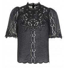 Isabel Marant Mumba broderie anglaise top Black 100% ramie Women's Short Sleeved  P00322987 UUXAANB