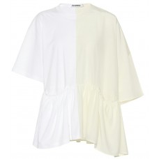 Jil Sander Cotton and silk top Ivory 100% cotton Women's Short Sleeved  P00328104 FUXABMJ