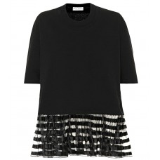 JW Anderson Organza trimmed cotton T shirt black 100% cotton Women's Short Sleeved  P00338373 MHMCTCJ