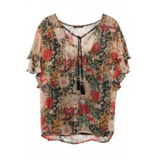 LOVE SAM Casella floral-print metallic georgette blouse Brass 100% Viscose 1016843419788389 J98uTs4r