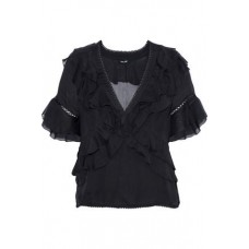LOVE SAM Ruffled chiffon blouse Black 100% Viscose 4146401444331552 EGxvQYBg