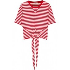 SONIA RYKIEL Tie-front striped cotton-blend jersey T-shirt Red 82% Cotton 18% Lycra® 1874378723117177 qypbI1mb
