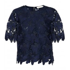 Tory Burch Nicola lace top BLACK TORY NAVY 100% polyester Women's Short Sleeved  P00331691 JZRKRIX