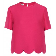 Valentino Scalloped wool and silk top Disco Pink 65% virgin wool 35% silk Women's Short Sleeved  P00328346 OUJJVPN