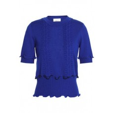 3.1 PHILLIP LIM Ruffle-trimmed pointelle-knit wool-blend sweater Bright blue 91% Wool 6% Polyester 3% Elastane 3024088873145696 c008UdWA