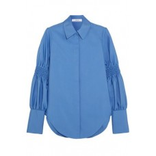 ADEAM Smocked cotton-blend shirt Azure 55% Cotton 45% Polyester 1874378722819843 q5EYgIBC