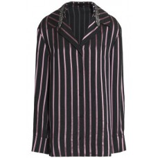 ALEXANDER WANG Crystal-embellished striped jacquard shirt Dark purple 100% Viscose 14693524283257560 naEUdBpd