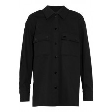 ALEXANDER WANG Fringe-trimmed silk-paneled cotton-twill shirt Black 100% Cotton 14693524283251311 X4CyjbVD