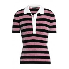 ALEXANDER WANG Metallic striped chenille polo shirt Pink 83% Viscose 16% Nylon 1% Elastane 13331180551694040 m9IGJIpw