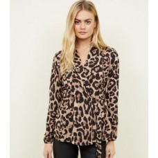 AX Paris AX Paris Brown Leopard Print Wrap Blouse 608144829 Women's Shirts LYSNFSV