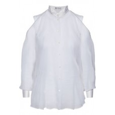 BRUNELLO CUCINELLI Bead-embellished satin-trimmed silk-organza shirt White 100% Silk 1016843419982727 lMBbVOD0